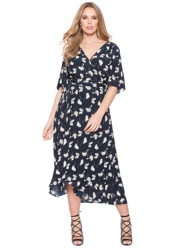 Eloquii Circle Sleeve Wrap Dress,