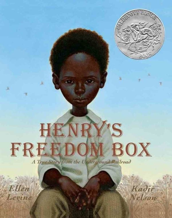 "A retelling of the true story of Henry ""Box"" Brown, written by Ellen Levine and illustrated by Kadir Nelson, this gorgeous pi"
