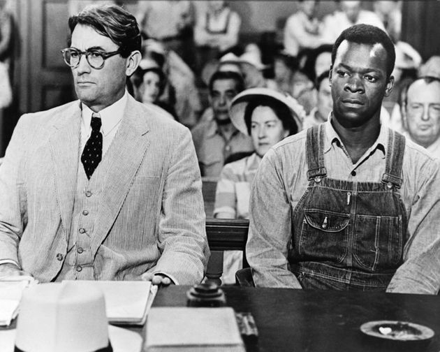 Actors Gregory Peck as Atticus Finch and Brock Peters as Tom Robinson in the film 'To Kill a Mockingbird',