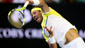 MELBOURNE, AUSTRALIA - JANUARY 19:  Rafael Nadal of Spain serves in his first round match against Fernando Verdasco of Spain during day two of the 2016 Australian Open at Melbourne Park on January 19, 2016 in Melbourne, Australia.  (Photo by Michael Dodge/Getty Images)