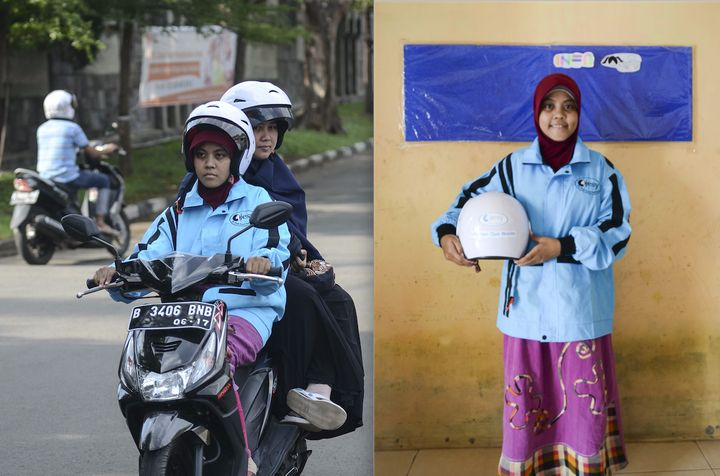Syifa, one of the 450 women drivers, is seen carrying a customer, left, and at the company's head office in Jakarta, right.
