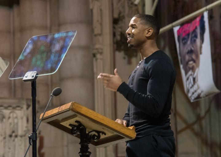 "Michael B. Jordan delivering Fred Hampton's ""Power Anywhere There's People"" speech."