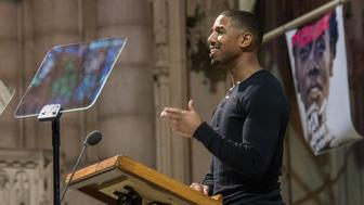 NEW YORK, NEW YORK - JANUARY 18:  Michael B. Jordan speaks at the 2016 MLK Now at Riverside Church on January 18, 2016 in New York City.  (Photo by Noam Galai/Getty Images)