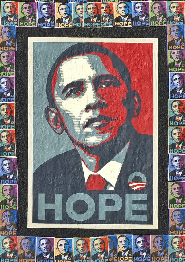 Campaign poster for Barack Obama designed by Shepard Fairey, circa 2008.