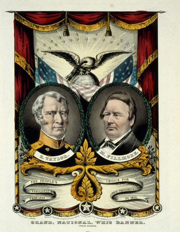 Campaign banner for Zachary Taylor and Millard Fillmore, circa 1849.