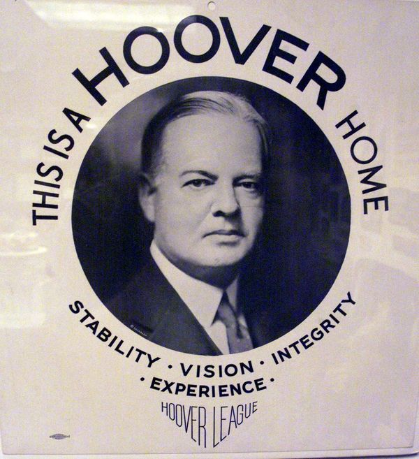 Campaign poster for Herbert Hoover, circa 1928.