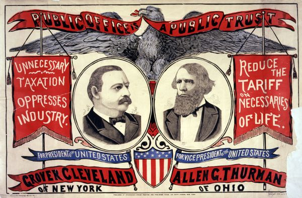 Campaign poster for Grover Cleveland and Allen G. Thurman, circa 1888.