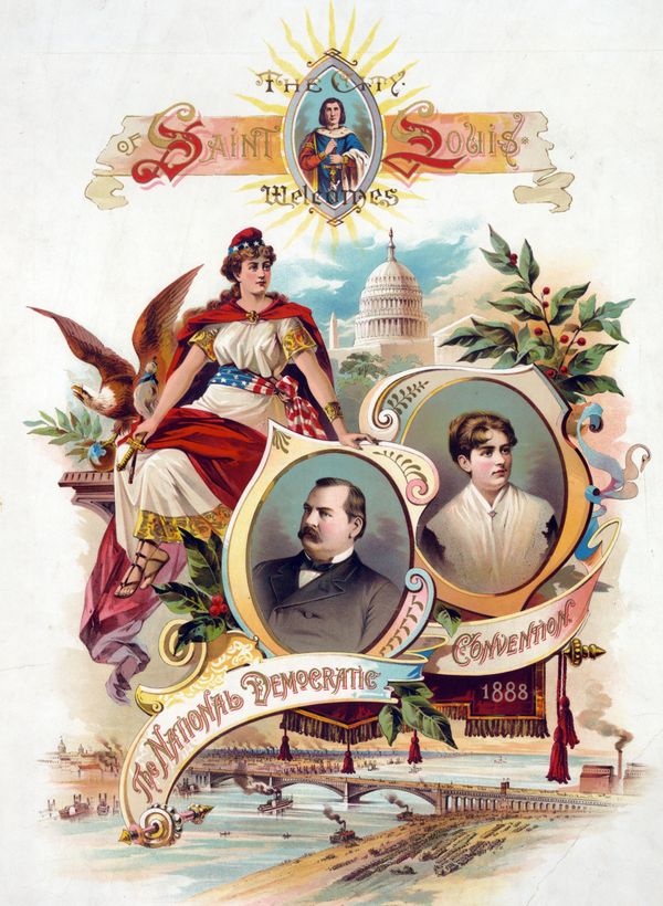 Campaign poster featuring Grover Cleveland and his wife, Frances Cleveland, circa 1888.