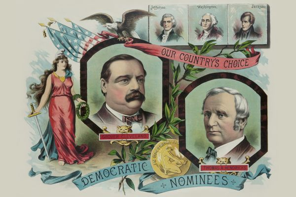 Campaign poster for Grover Cleveland and Thomas A. Hendricks, circa 1884.