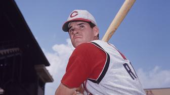 PITTSBURGH, PA - 1965:  Infielder Pete Rose, of the Cincinnati Reds, poses for a portrait prior to a game in 1965 against the Pittsburgh Pirates at Forbes Field in Pittsburgh, Pennsylvania.  (Photo by:  Diamond Images/Getty Images)