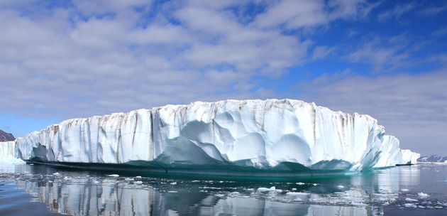 Clouds float above the east Greenland ice sheet and