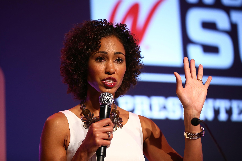 Sage Steele speaks onstage at the 2013 espnW: Women + Sports Summit at St. Regis Monarch Beach Resort on Oct.9, 2013, i