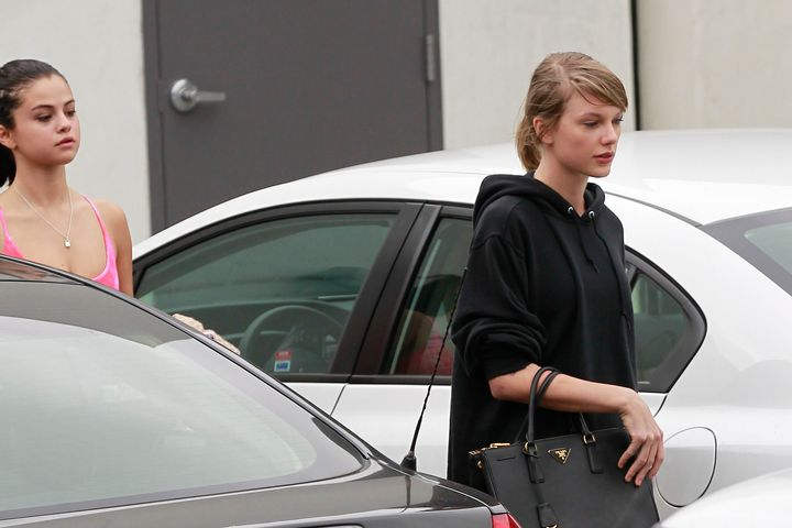 Taylor Swift and Selena Gomez leave Body by Simone in West Hollywood, Ca. Hopefully they are on their way to post-workout waffles.