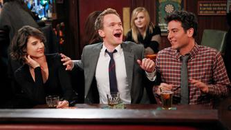 LOS ANGELES - DECEMBER 15: '46 Minutes'-- The gang, Robin, (Cobie Smulders), Barney (Neil Patrick Harris), Marshall (Jason Segel) and Ted (josh Radnor), still holding court in their usual booth at Maclaren's on the 150th episode of HOW I MET YOUR MOTHER, Monday, Jan. 16 (8:00-8:30 PM, ET/PT) on the CBS Television Network.  (Photo by Monty Brinton/CBS via Getty Images)