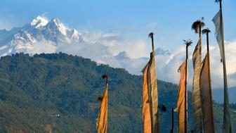 India, Sikkim, Tashiding, prayer flags and Himalayas