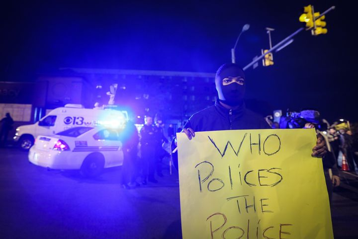 A group of curfew violators attend a demonstration over the death of Freddie Gray in April.