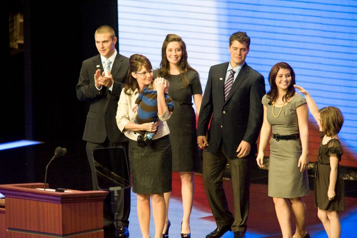 Track Palin, far left, with his family at the 2008 Republican National Convention.