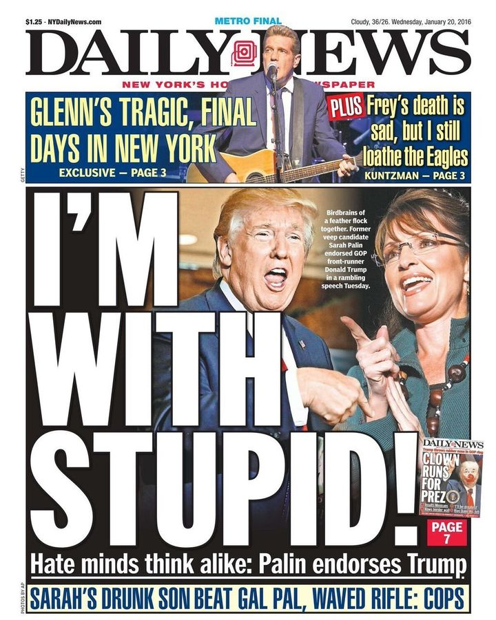 The New York Daily News shows how it feels about the Sarah Palin endorsement of Donald Trump.