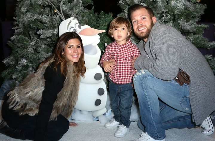 Actress Jamie-Lynn Sigler with her son, Beau, and husband Cutter Dykstra.