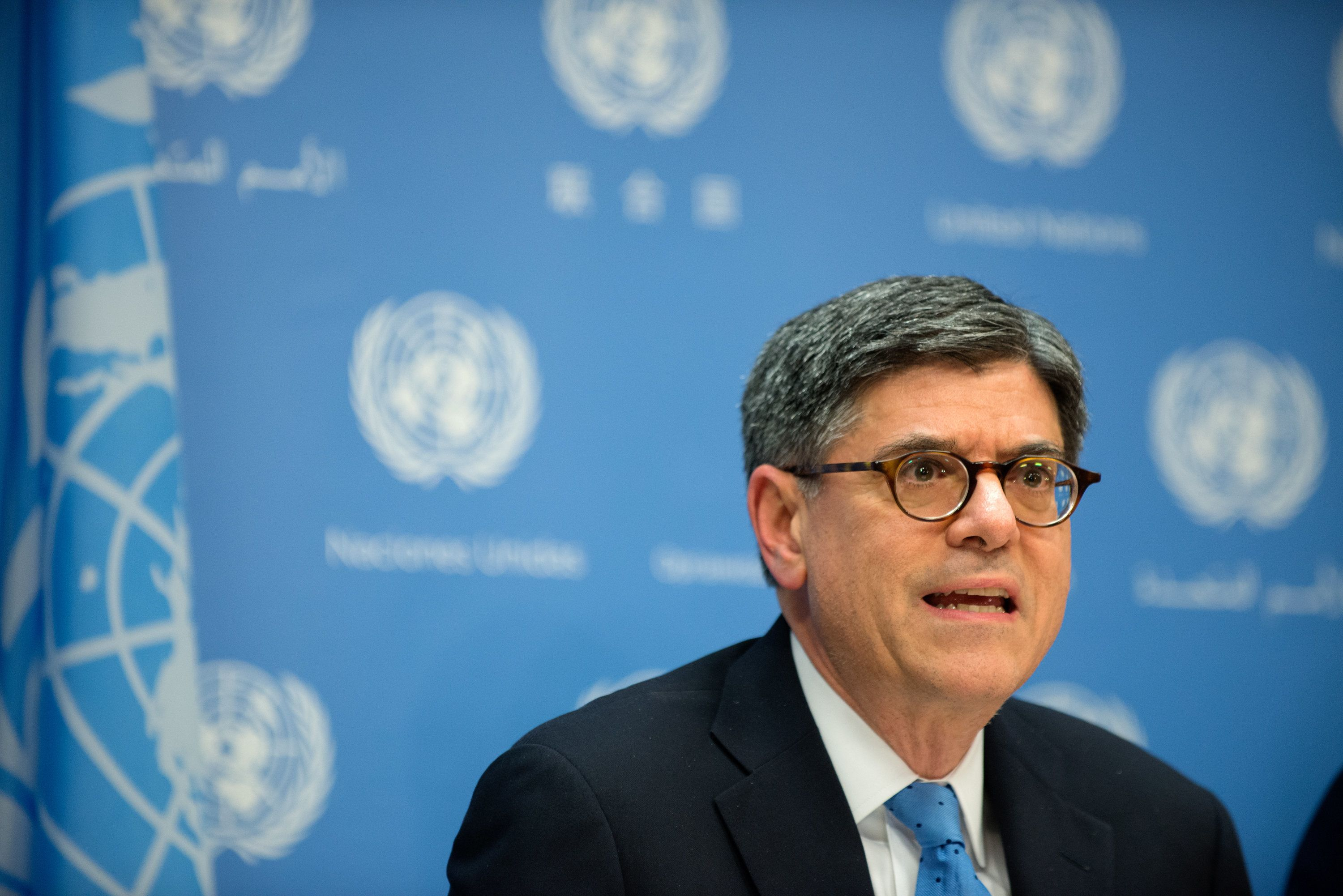 NEW YORK, NY - DECEMBER 17: United States Treasury Secretary Jacob Lew speaks during a press conference following the United Nations Security Council's session to discuss the financing of terrorism on December 17, 2015 in New York City. Finance members from the permanent members of the security council, as well as the other ten, non-permanent, members of the security council discussed how to combat terrorism financing, in particular ISIL.  (Photo by Bryan Thomas/Getty Images)