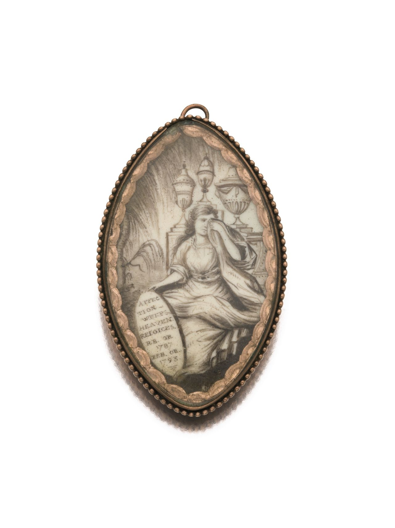 American Gold And Ivory Mourning Pin, Dated 1793