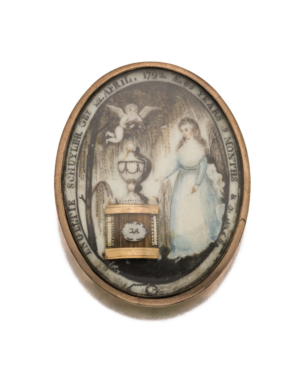 Large American Gold And Ivory Mourning Pin, Dated 1792