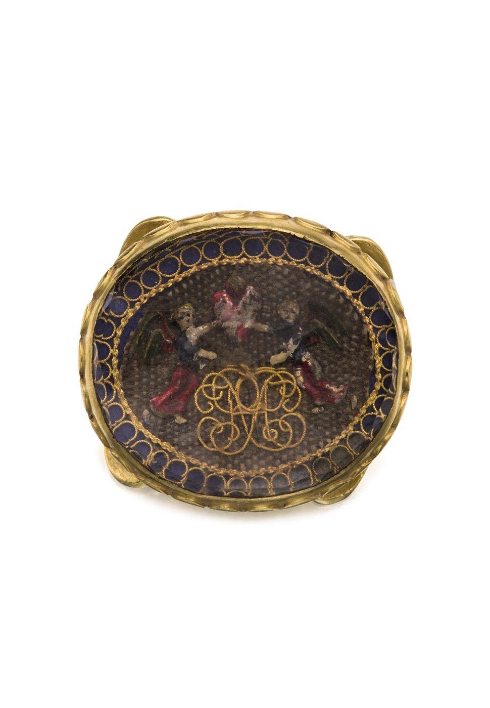 "Gold ""Stuart Crystal"" Mourning Slide, Late 17th Century"
