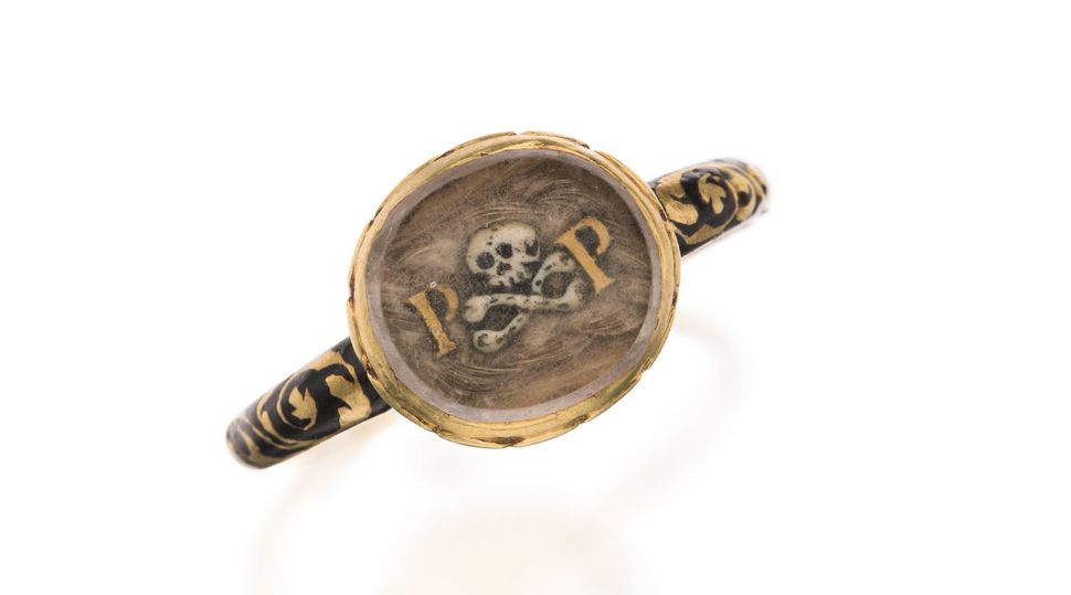 Enameled Gold Mourning Ring, Late 17th Century
