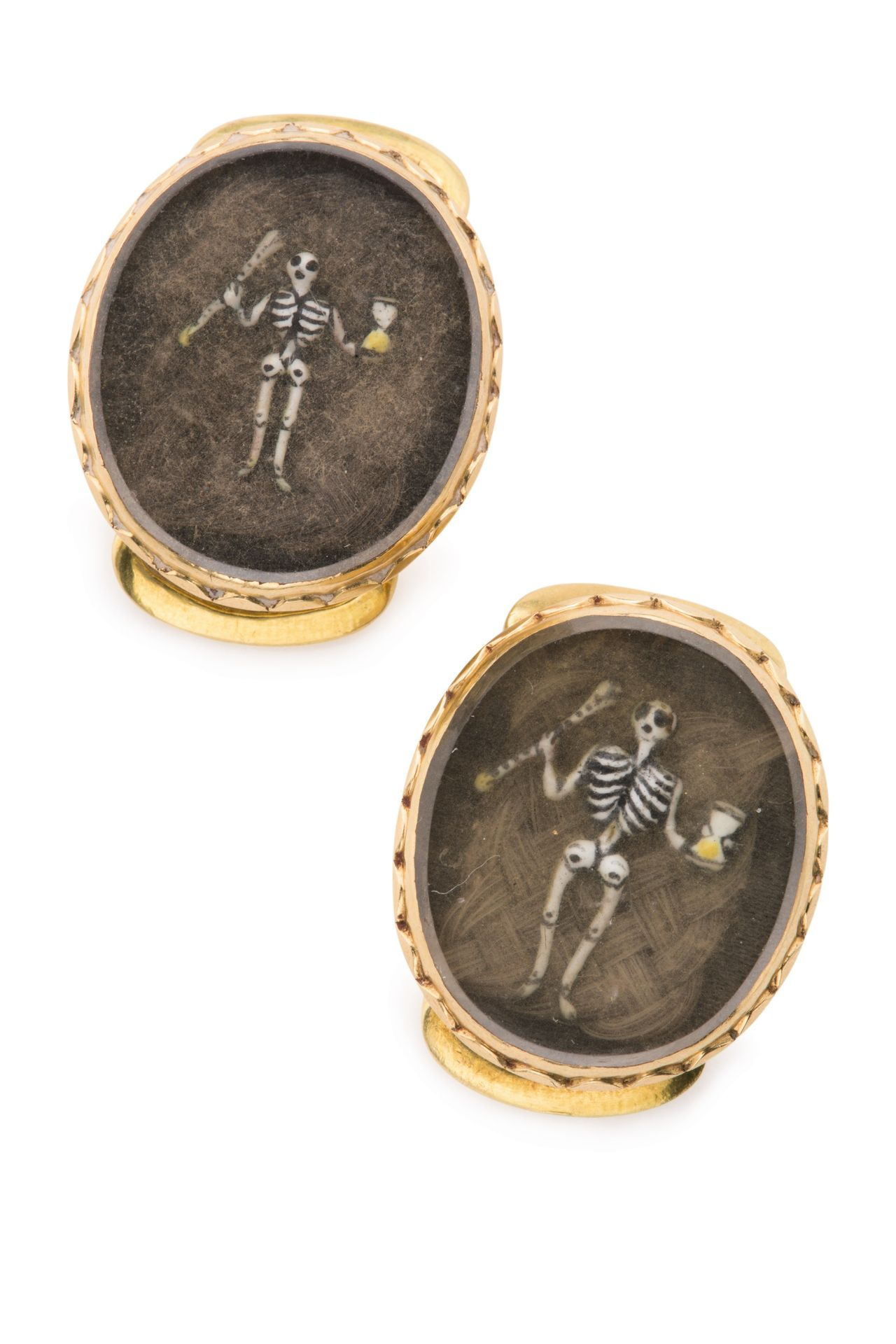 Two Matching English Gold And Hairwork Mourning Slides, Dated 1684