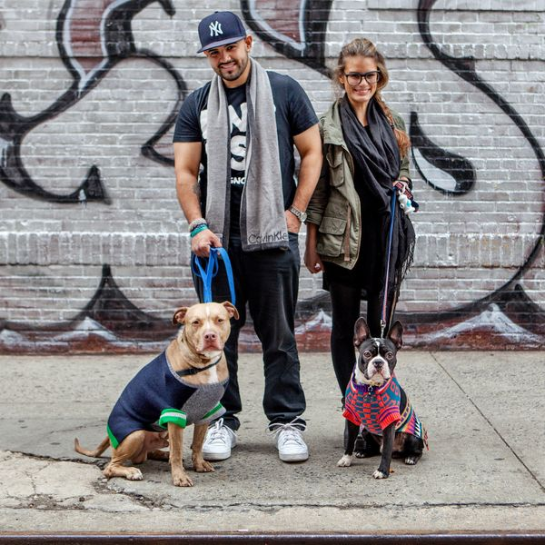 "<strong>Chris &amp; Autumn + Tango &amp; Poukie (LES, Manhattan)</strong>&nbsp;<br>""They're both rescues, and they're awesome"