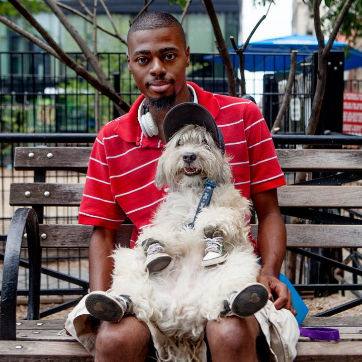 "<strong>Ryan + Shaggy (Union Square, Manhattan) </strong><br>""I started dressing him up mainly to keep his feet fro"