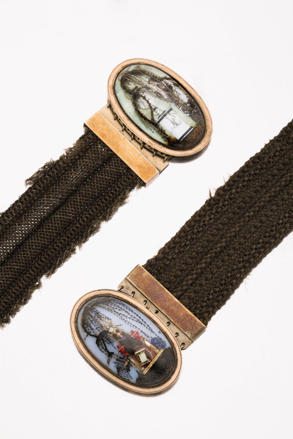 Pair Of American Gold And Hairwork Mourning Bracelets, Dated 1776 and 1792