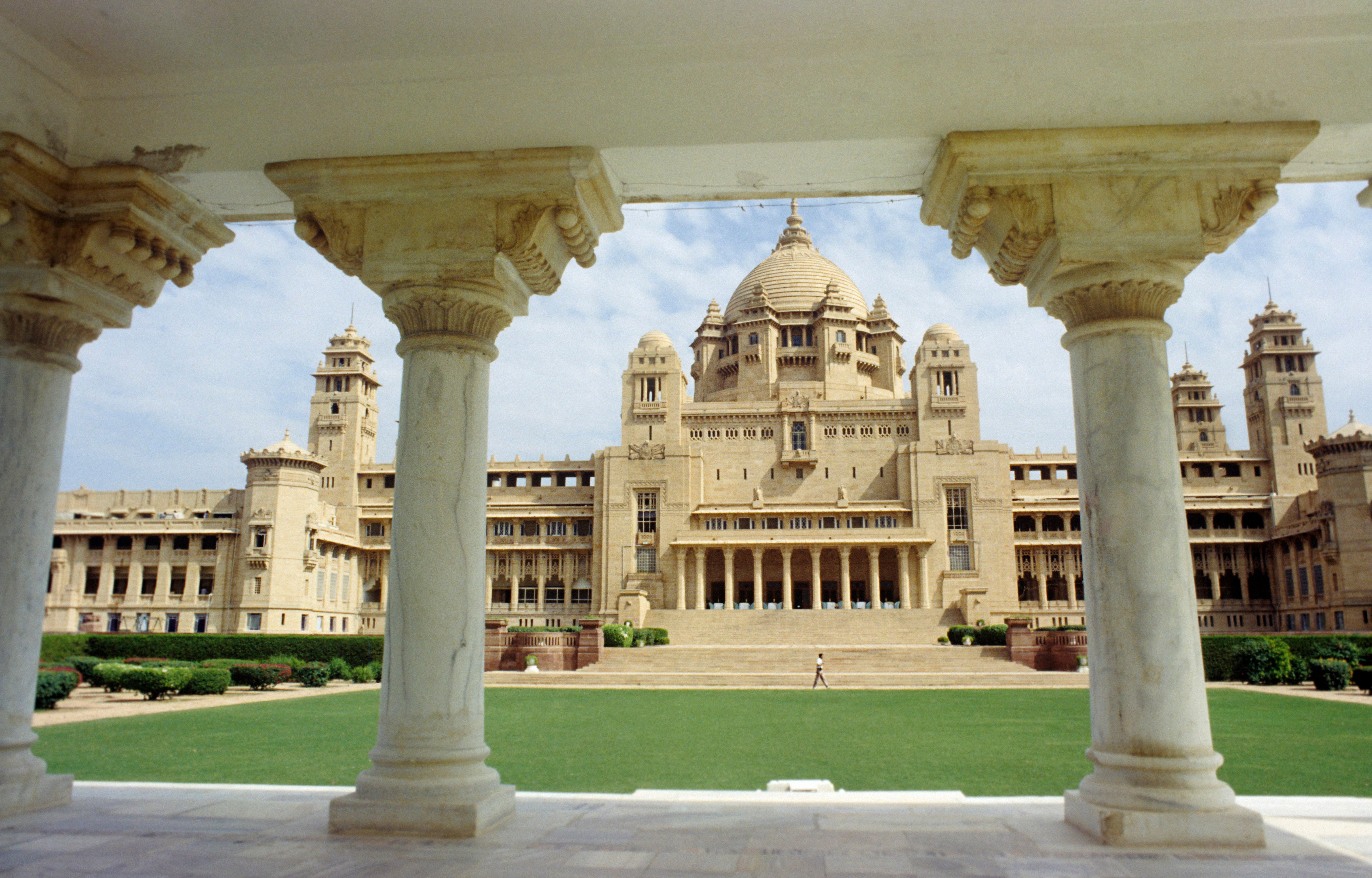Umaid Bhawan Palace, it is one of the world's largest private residences, Jodhpur, Rajasthan, India. (Photo by: IndiaPictures/UIG via Getty Images)