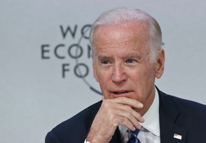 """US Vice-President Joe Biden speaks during a panel """"Cancer Moonshot: A Call to Action"""" during the World Economic Forum in Davos, Switzerland, Tuesday Jan. 19, 2016."""