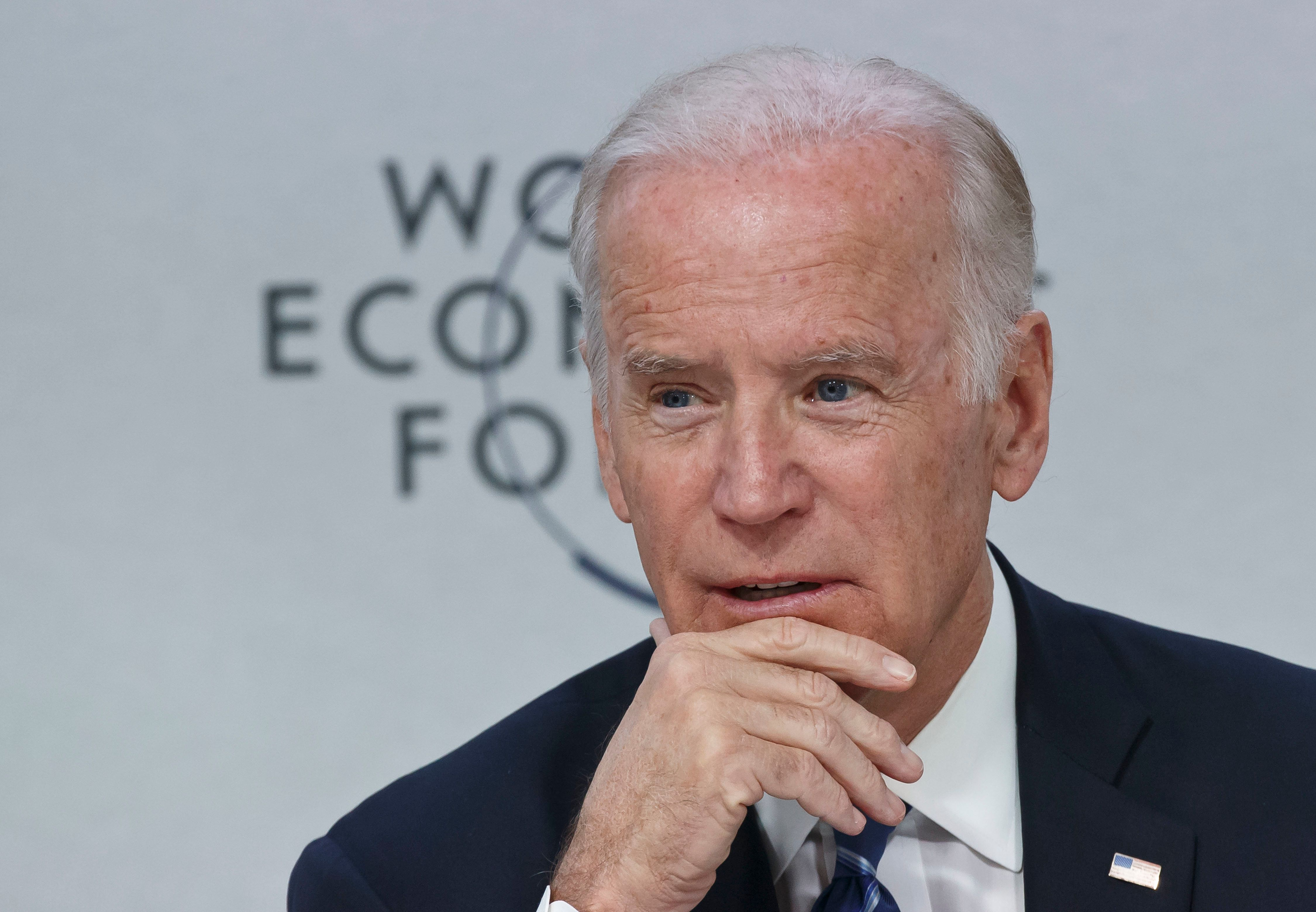 """US Vice-President Joe Biden speaks during a panel """"Cancer Moonshot: A Call to Action"""" during the World Economic Forum in Davo"""