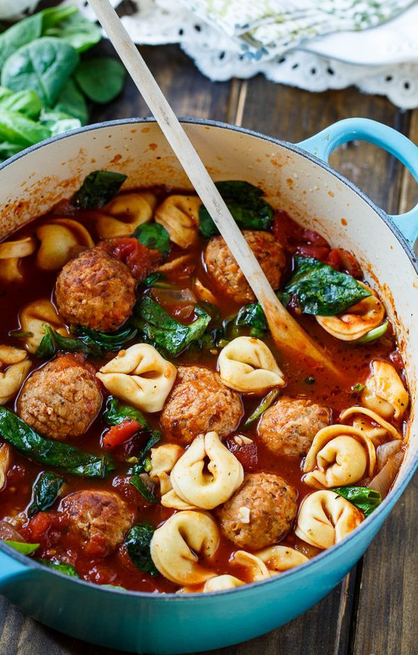 """<strong>Get the <a href=""""http://spicysouthernkitchen.com/meatball-and-tortellini-soup/"""" target=""""_blank"""">Meatball And Tortelli"""