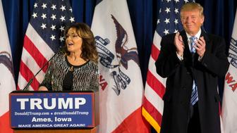 UNITED STATES - JANUARY 18 - Former Alaska Gov. Sarah Palin speaks as she endorses Republican presidential candidate Donald Trump at a campaign stop, Tuesday, Jan. 19, 2016, in Ames, Iowa. (Photo By Al Drago/CQ Roll Call)