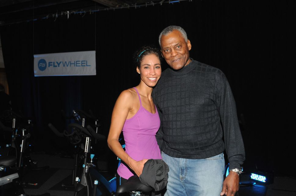 Steele and her father, Gary Steele, attend The Flywheel Challenge at the NFL House on Feb. 1, 2013 in New Orleans, Louis
