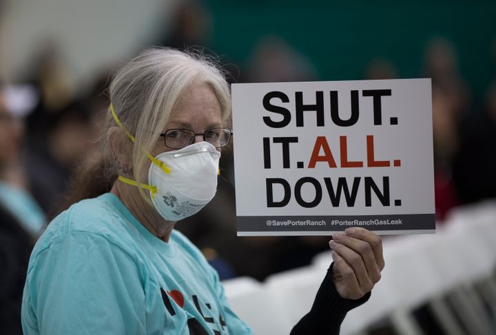 A woman attends a public hearing about the natural gas leak near Porter Ranch, California, on Jan. 16, 2016.