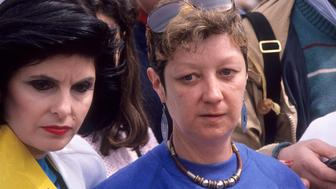 NEW YORK CITY - APRIL 9:   Attorney Gloria Allred and activist Jane Roe (Norma McCorvey) attend the National Organization for Women's 'March for Women's Equality/Women's Live' Pro-Choice Rally on April 9, 1989 at Capitol Hill in Washington, DC. (Photo by Ron Galella/WireImage)