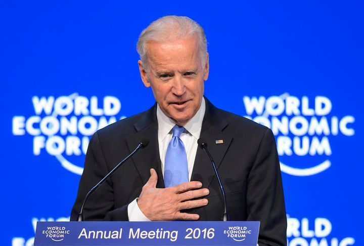 Vice President Joe Biden gestures during his speech at the World Economic Forum annual meeting in Davos, onWednesday.