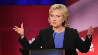 CHARLESTON, SC - JANUARY 17:  Democratic presidential candidate Hillary Clinton participates in the Democratic Candidates Debate hosted by NBC News and YouTube on January 17, 2016 in Charleston, South Carolina. This is the final debate for the Democratic candidates before the Iowa caucuses.  (Photo by Andrew Burton/Getty Images)