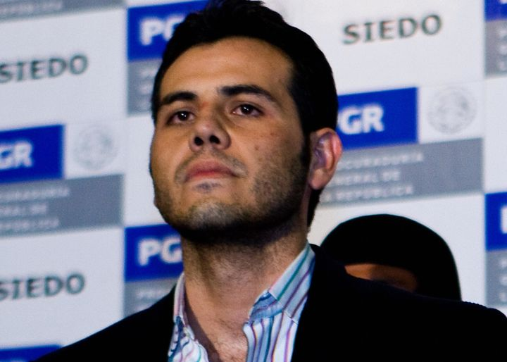 "Mexican authorities present Vicente Zambada, ""El Mayo"" Zambada's son, to the press after his arrest in 2009. He was extr"