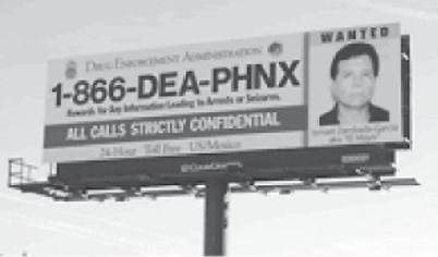 A 2003 billboard posted in Southern Arizona offers a reward for information leading to the arrest of Zambada.