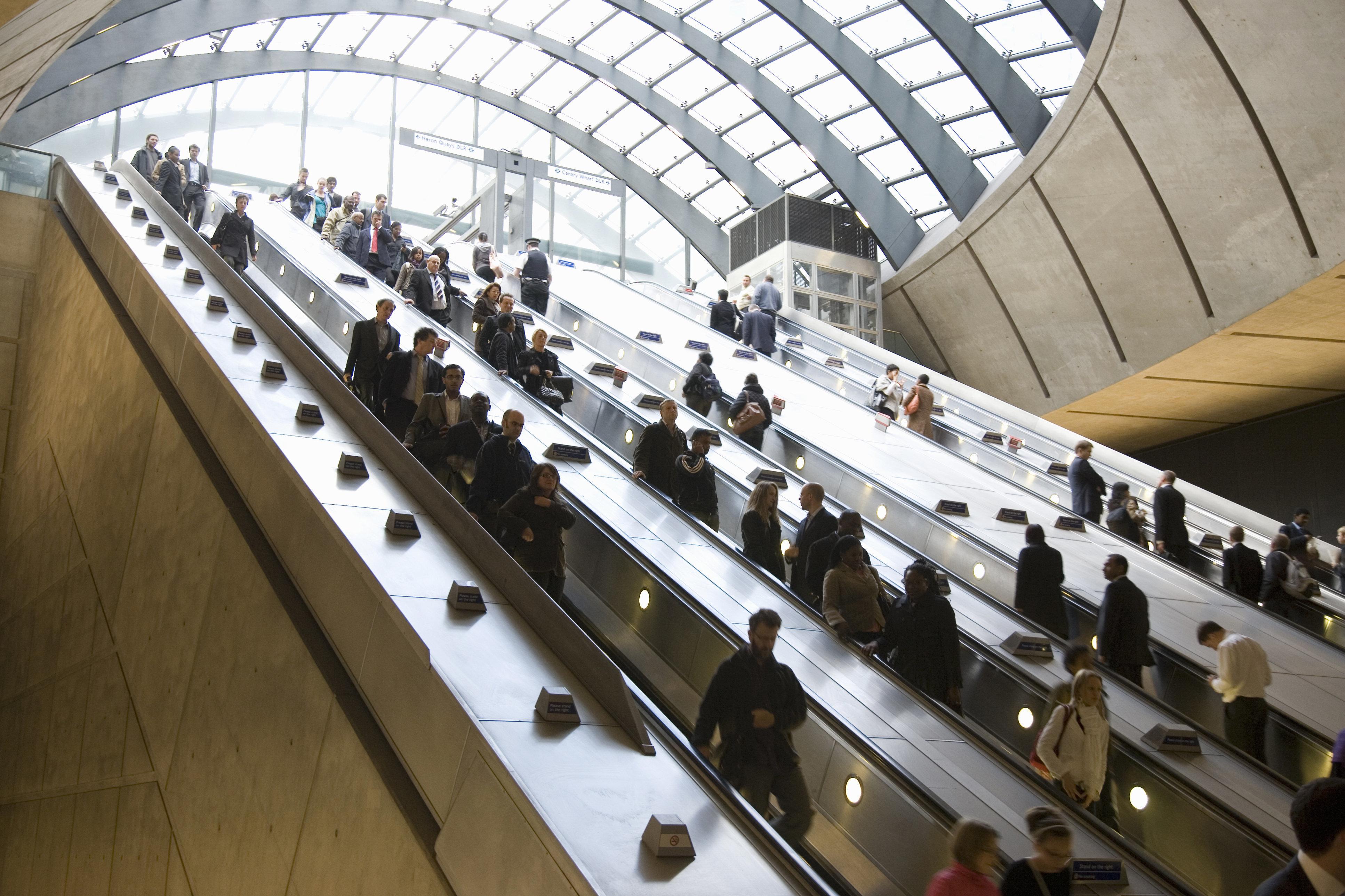 Canary Wharf escalator to subway