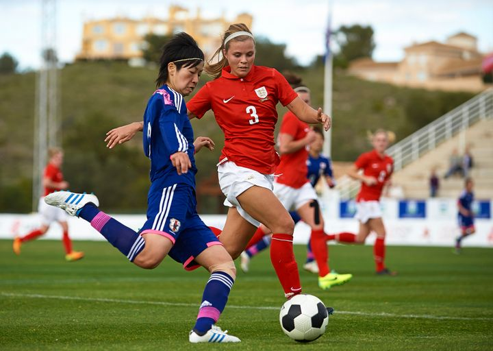 Rachel Daly, at right, who played collegiate soccer at St. John's University,chose to join NWSL instead ofreturni