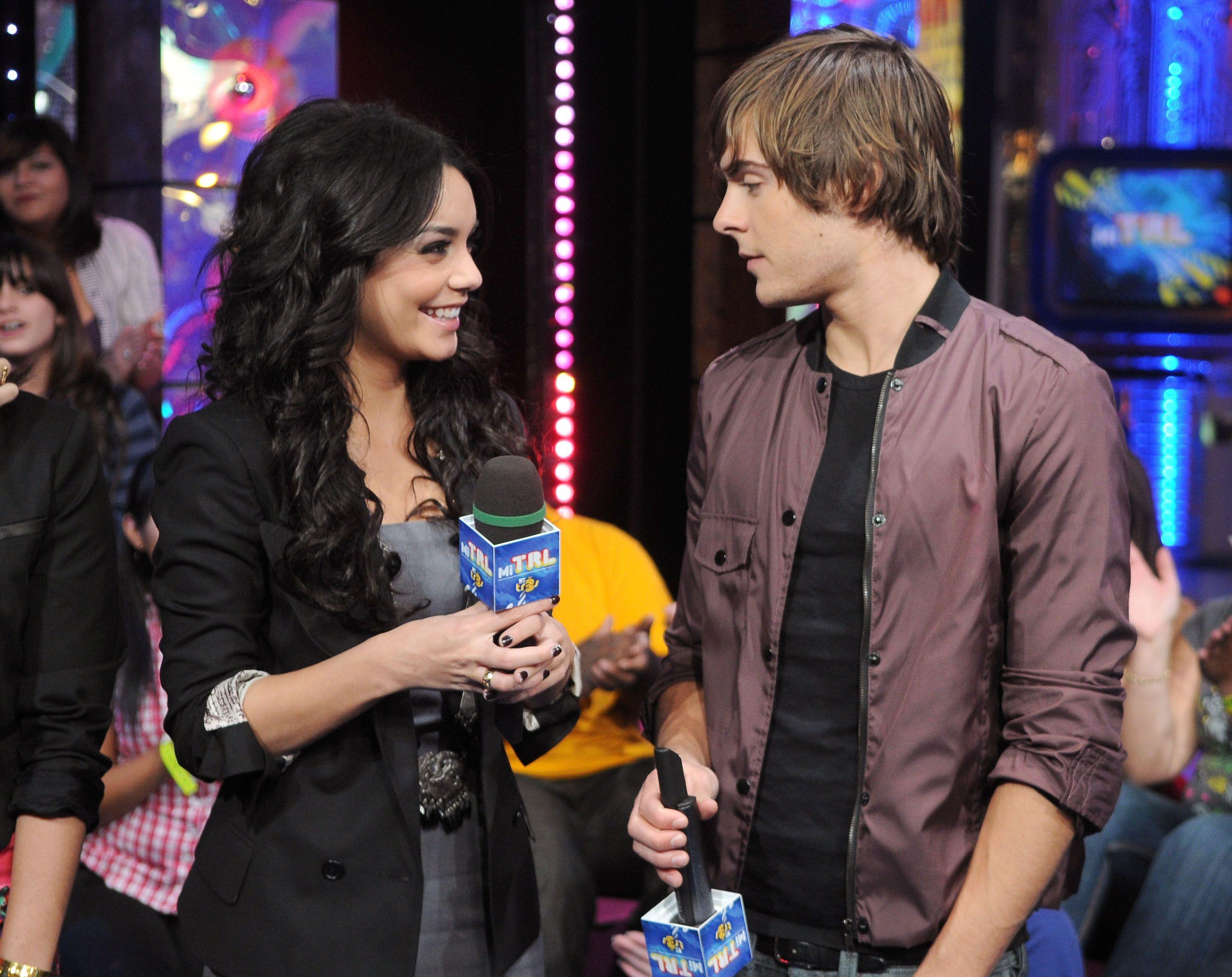 NEW YORK - OCTOBER 21:  Vanessa Hudgens and Zac Efron  visit  MTV's 'Mi TRL' at MTV Studios in Times Square on October 21, 2008 in New York City.  (Photo by George Napolitano/FilmMagic)