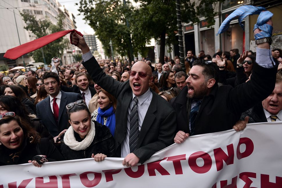 Lawyers wave their ties in Athens.