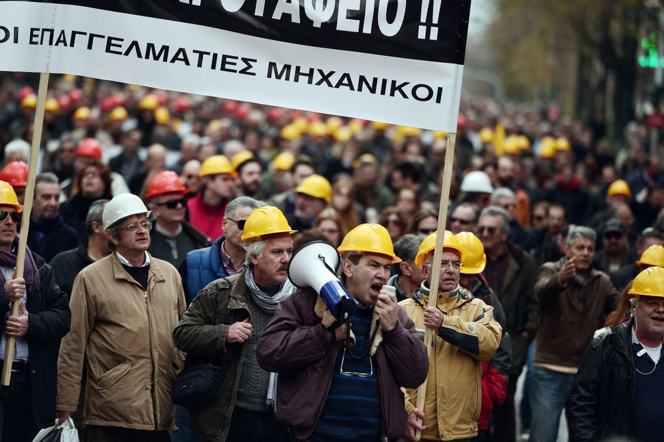 Engineers and other workers rally in Athens.
