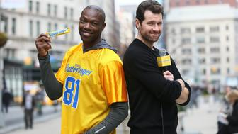 "Butterfinger's Bolder Than Bold ""Billy on the Street"" episode with NFL Star Terrell Owens is filmed on the streets of New York,  N.Y., Friday, Jan. 15, 2016. (Stuart Ramson/AP Images for Nestle Butterfinger )"